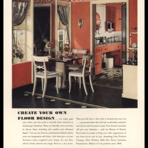 1936 Armstrong's Linoleum Floors Vintage Ad - Marbelle No. 2