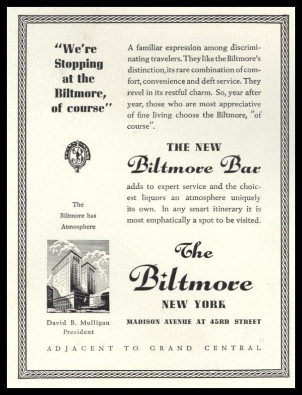 1936 The Biltmore Hotel Vintage Ad | New Biltmore Bar