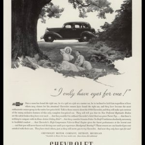 "1936 Chevrolet Sedan Vintage Ad - ""I only have eyes for one!"""