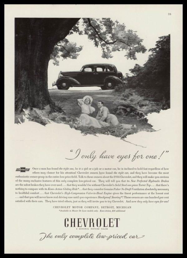 "1936 Chevrolet Sedan Vintage Ad - ""I only have eyes for one!"""