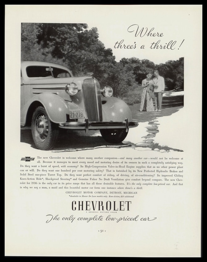 "1936 Chevrolet Vintage Ad | ""Where three's a thrill!"""