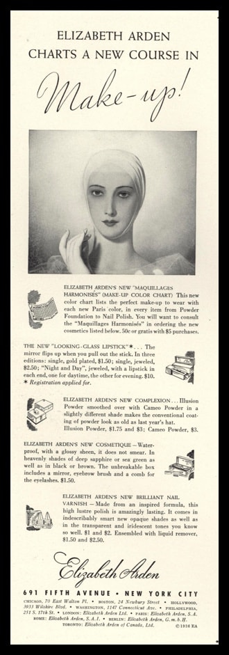 1936 Elizabeth Arden Make-Up Vintage Ad