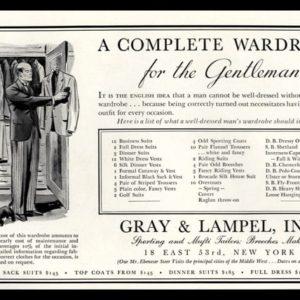 1936 Ad Gray & Lampel, Inc. | Gentleman's Wardrobe List