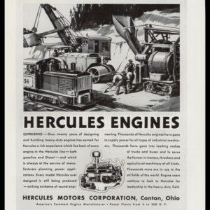 1936 Hercules Engines Vintage Ad | Excavator Art