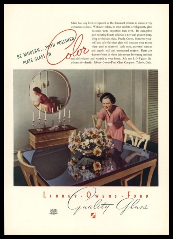 1936 Libbey Owens Ford Glass Company Vintage Ad - Color Plate Glass