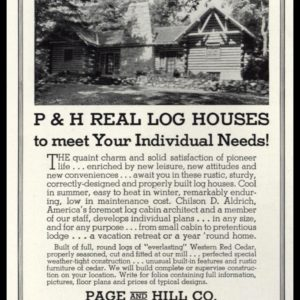 1936 P & H Real Log Houses Vintage Ad