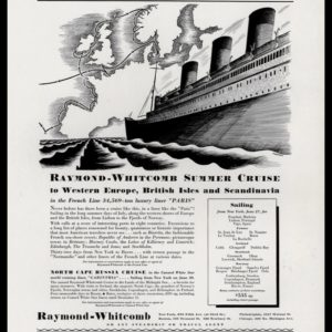 1936 Raymond-Whitcomb Cruise Vintage Ad | S.S. Paris
