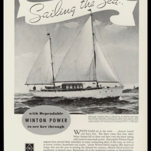 1936 Winton Engine Corp Vintage Ad | Sailboat Art