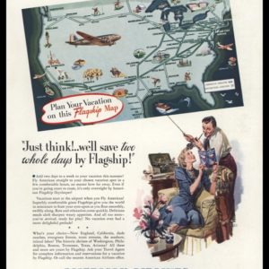1940 American Airlines Vintage Ad | Flagship Map