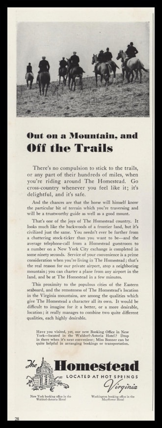 1940 Ad The Homestead-Hot Springs VA | Horse-Riding