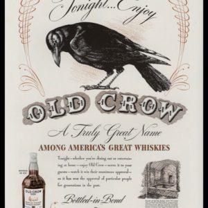 1940 Old Crow Whiskey Vintage Ad | Crow Art
