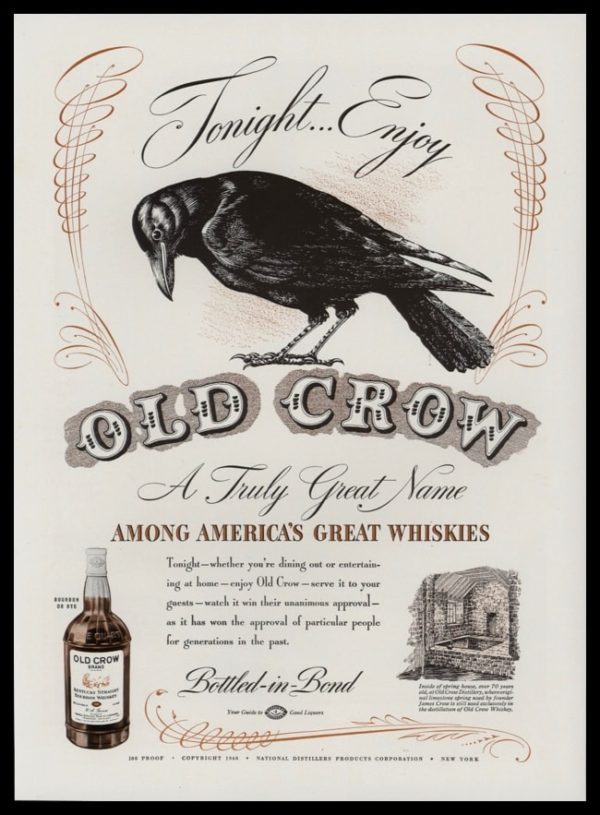 1940 Old Crow Whiskey Vintage Ad | Crow Art
