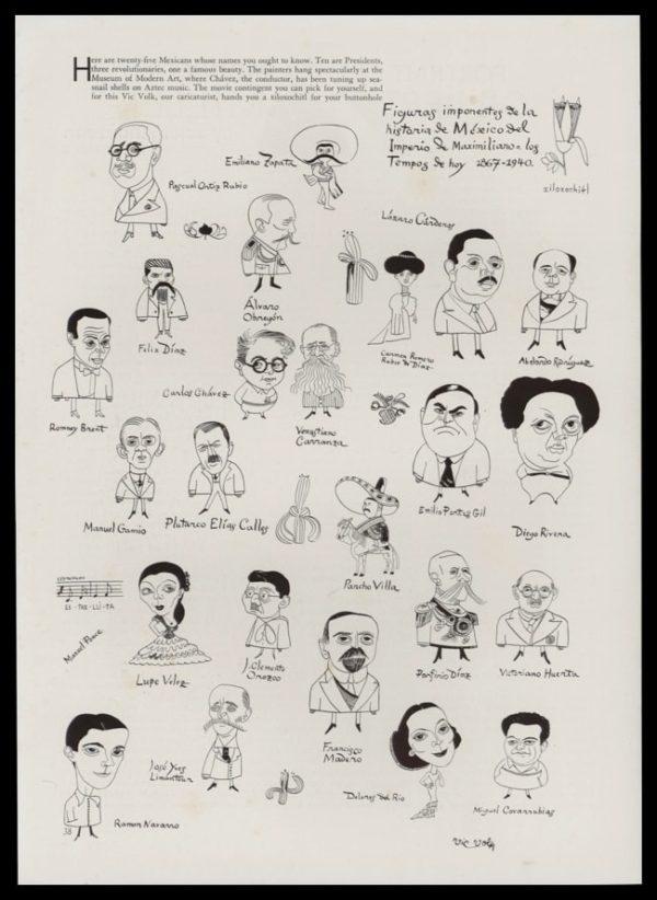 1940 Vic Volk Caricatures Vintage Print - Famous Mexicans