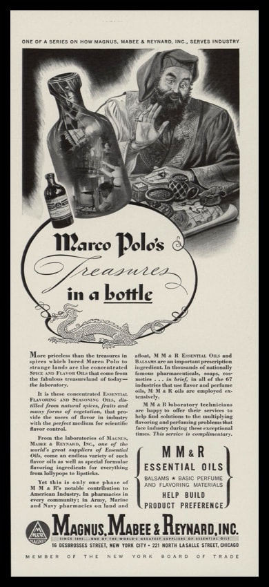 "1942 MM&R Essential Oils Vintage Ad - ""Marco Polo's Treasures in a bottle"""