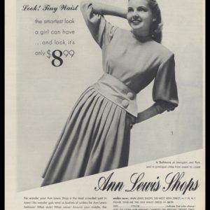 1947 Ann Lewis Shops Vintage Ad   Tiny Waist Dress