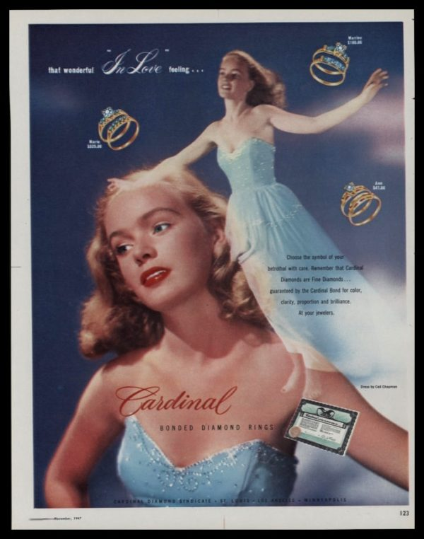1947 Ad Cardinal Diamond Rings | Ceil Chapman Dress