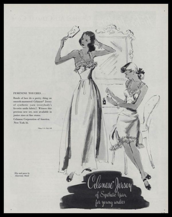 1947 Celanese Jersey Fabric Vintage Ad - American Maid Slip and Gown