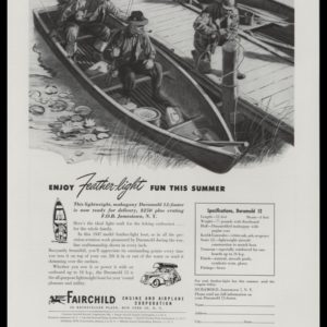 1947 Fairchild Feather-light Boat Vintage Ad | Fishing Art