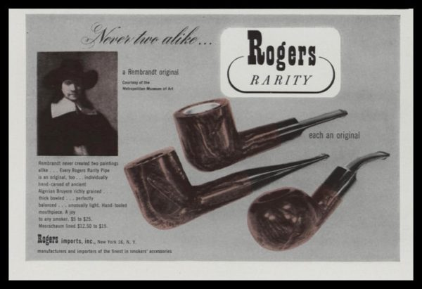 1947 Rogers Rarity Pipe Vintage Ad | Rembrandt