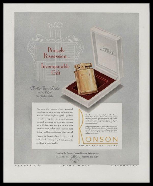 1947 Ronson 14k Banker Lighter Vintage Ad