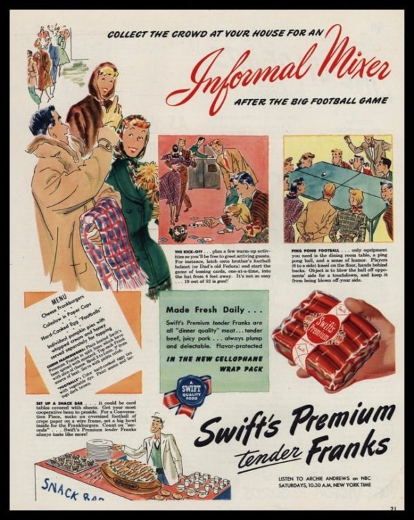 1947 Swift's Premium Franks Vintage Ad - Ping Pong Football