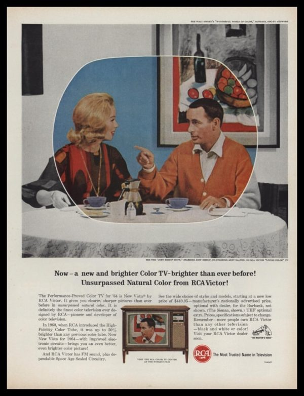 1964 RCA TV Vintage Ad | Joey Bishop Show