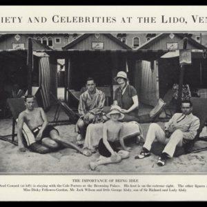 1926 Cole Porter~Noel Coward Vintage Print | Lido, Venice