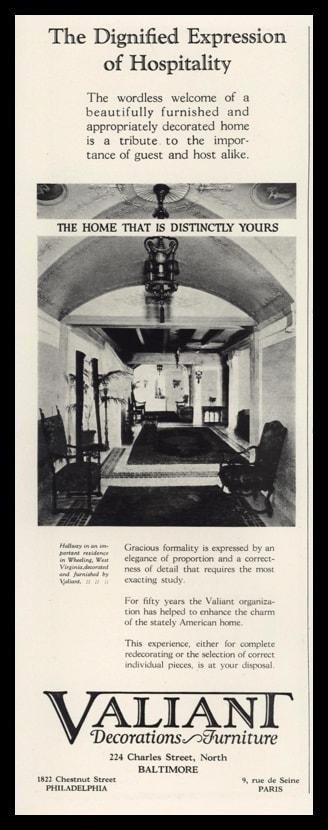 "1926 Valiant Decorations and Furniture Vintage Ad - ""Expression of Hospitality"""