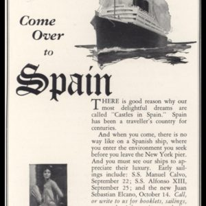 "1928 Spanish Royal Mail Line Vintage Ad - ""Come Over to Spain"""
