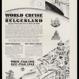 1928 Red~White Star Lines Vintage Ad | Herbert Roese Art