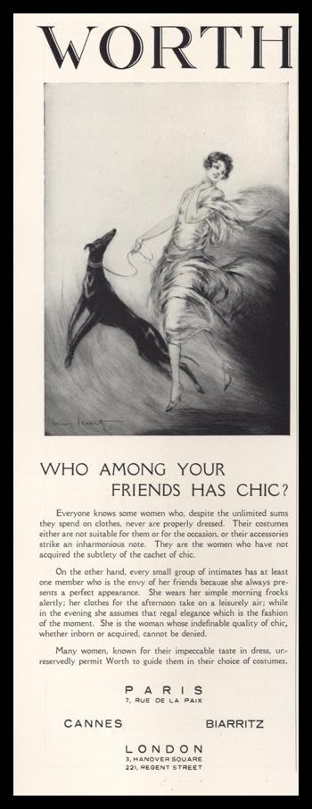 1928 Worth Women's Fashions Vintage Ad   Louis Icart Art