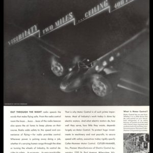 1935 Cutler-Hammer Vintage Ad - John Paul Pennebaker Airplane Photo
