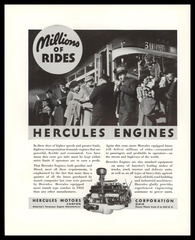 "1935 Hercules Engines Vintage Ad | ""Millions of Rides"""