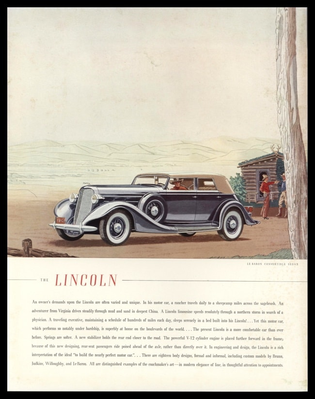 1935 Lincoln Le Baron Convertible Sedan Vintage Ad