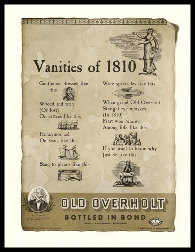 "1935 Old Overholt Whiskey Vintage Print Ad - ""Vanities of 1810"""