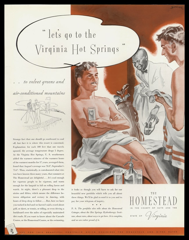 "1935 The Homestead Vintage Ad - ""velvet greens and air-conditioned mountains"""