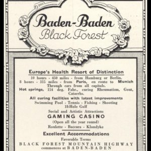 1936 Baden-Baden | German Railroad Office Vintage Ad