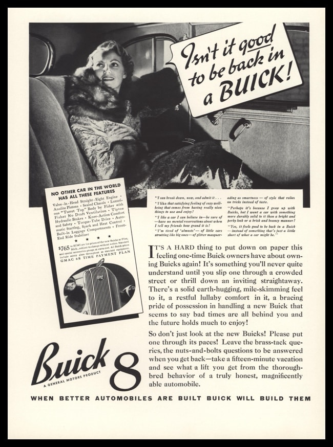 "1936 Buick 8 Vintage Ad - ""Isn't it good to be back in a Buick"""