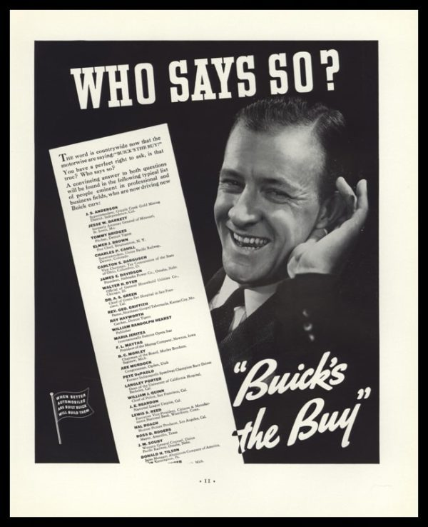 """1936 Buick Vintage Ad - """"Buick's the Buy"""""""