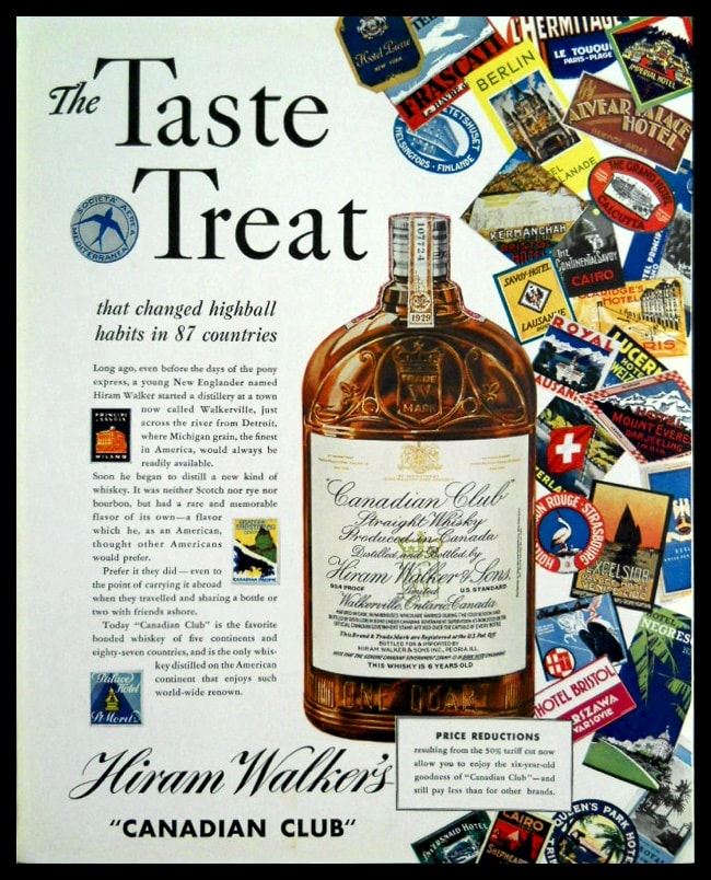 "1936 ""Canadian Club"" Whiskey Vintage Ad 