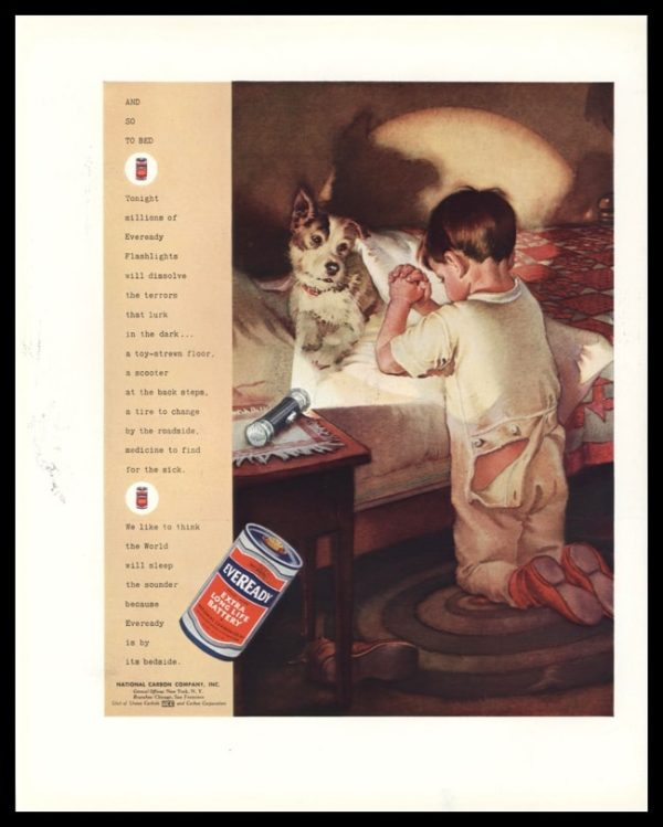 "1936 Eveready Battery Vintage Ad | ""And So to Bed"""