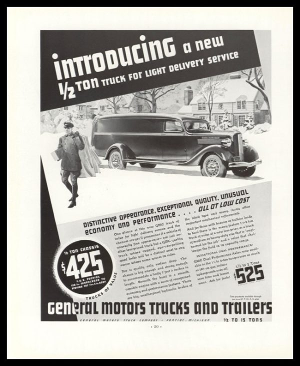 1936 General Motors (GMC) ½ Ton Delivery Truck Vintage Ad