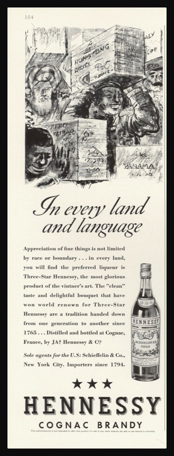 "1936 Hennessy Cognac Brandy Vintage Ad - ""In every land and language"""