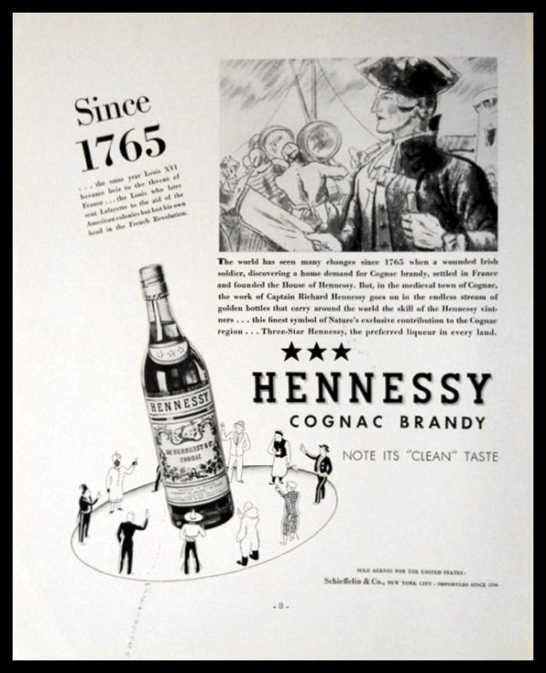 """1936 Hennessy Cognac Vintage Ad 