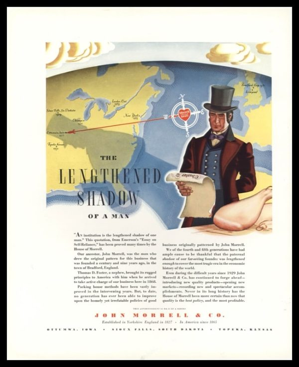 "1936 John Morrell & Co. Vintage Ad - ""Lengthened Shadow of a Man"""