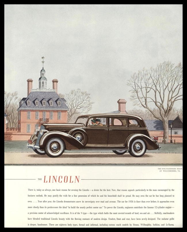 1936 Lincoln Sedan Vintage Ad | Colonial Williamsburg, VA