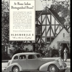 "1936 Oldsmobile 8 Vintage Ad - ""At Home before Distinguished Doors"""