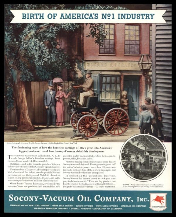 1936 Socony-Vacuum Oil Vintage Ad | Horseless Carriage