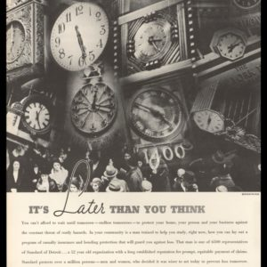 1936 Standard Accident Insurance Co. of Detroit Vintage Ad - Clocks