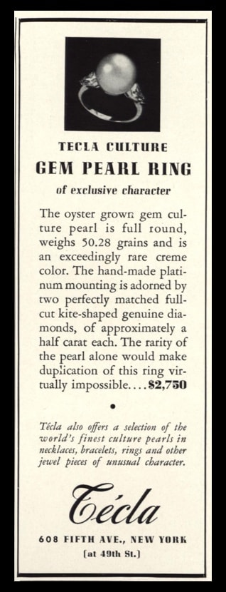 """1936 Técla Pearl Ring Vintage Ad 